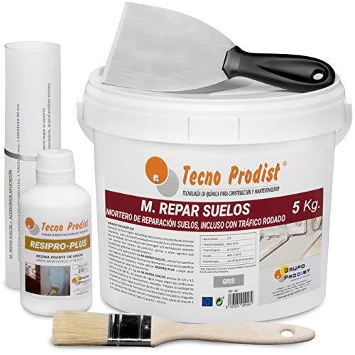 M-REPAR SUELOS de Tecno Prodist – (5 kg + kit) Mortero de reparación suelos hormigón o cemento, incluso con tráfico rodado (transitable por vehículos en 2 horas) + Accesorios aplicación