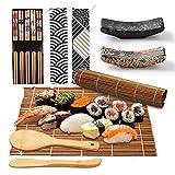 LxwSin Kit para Hacer Sushi, 13 Piezas Herramienta de Sushi de Bambú para Principiantes, 2 Tapetes para Enrollar Sushi,5 Pares de Palillos,Paleta Arroz,Cuchillo Bambú,2 Soportes Palillos,2 Bolsas Lona