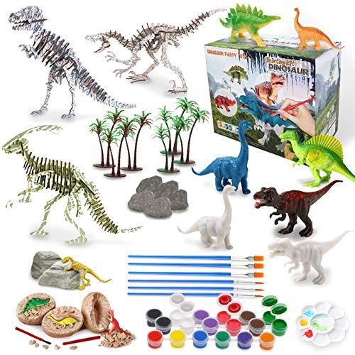 IPHUNGO 공룡 예술과 공예 어린이 연령 3 4 5 6 7 8 9 10 12 공룡 그림 장난감 세트 소년 소녀 놀이 매트 페인트 자신의 디노 장난감