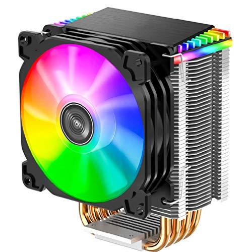 Incdnn Ventilador de CPU CR1400 PWM de 4 pines, 12 V, para PC LED, RGB, 4 tubos de calor, para CPU 1151/1155/AM3/AM4, CR1200, 2 tubos térmicos, RGB, 3 pines, disipador de calor, 9 cm, color