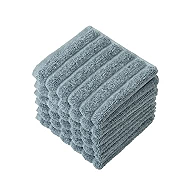 Classic Turkish Towels 6 Piece Luxury Washcloth Towel Set - 13 x 13 Inch Soft and Thick Large Bath Towel Washcloths Made with 100% Turkish Cotton (Seafoam)