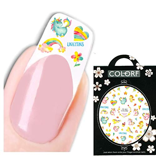 JUSTFOX - 3D nagel sticker Nail Art sticker eenhoorn Unicorn hart bont sticker New Design