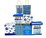 Hanukkah Gift Bags Set of 8 Assorted Sizes Paper/Kraft Bags Happy Chanukah/Hanukkah, Dreidel, Menorah Designs