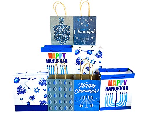 Hanukkah Gift Bags Set of 8 Assorted Sizes Paper/Kraft Bags Happy Chanukah/Hanukkah, Dreidel, Menorah Designs