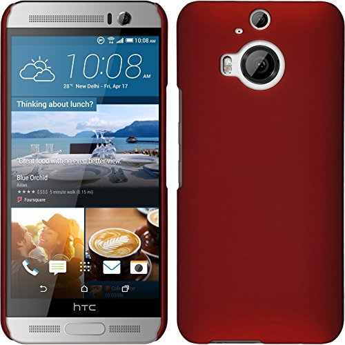 PhoneNatic Case kompatibel mit HTC One M9 Plus - Hülle rot gummiert Hard-case + 2 Schutzfolien