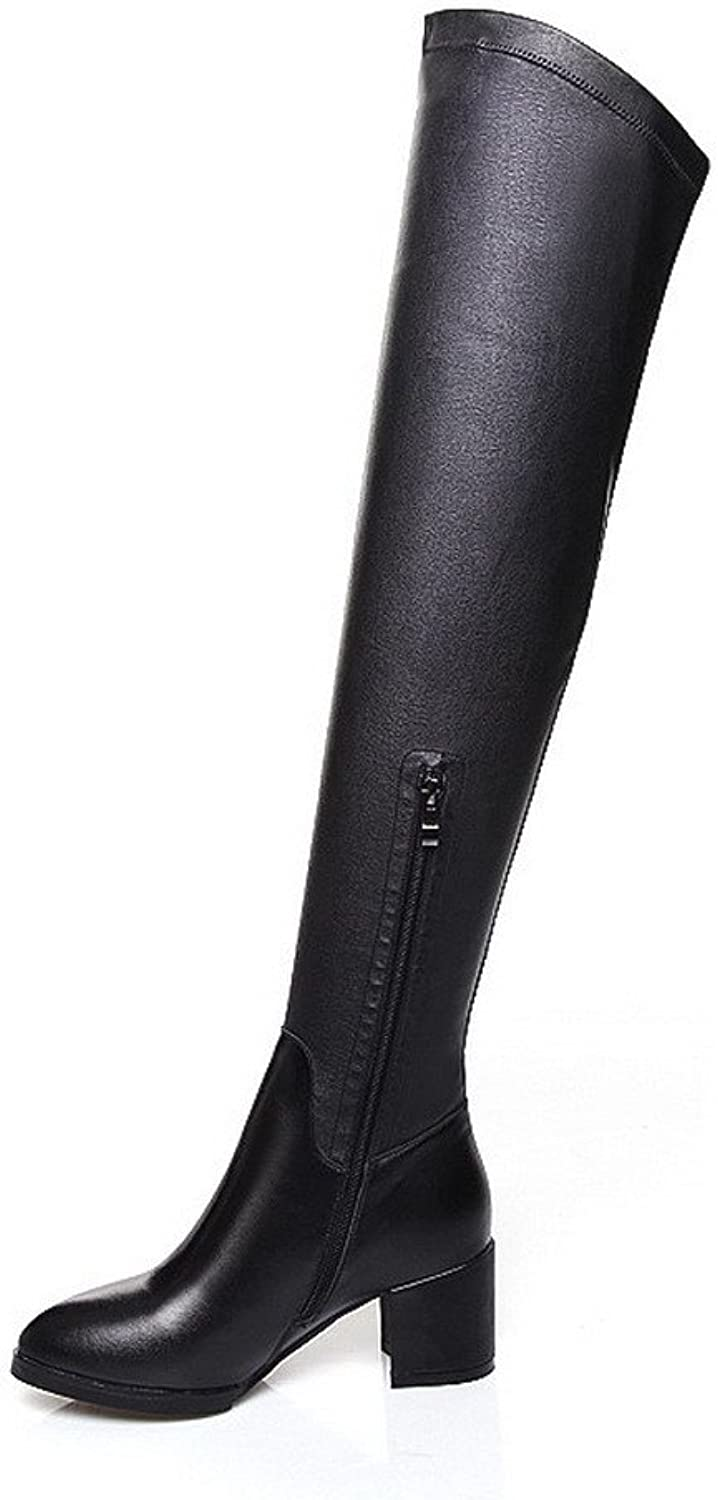 WeiPoot Women's Soft Material Square Heels Closed-Toe Boots with Leisure Style and Square Heels