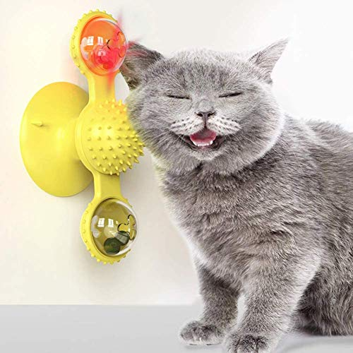 Vikano Interactive Cat Catnip Toy for Indoor Cats, Windmill Catnip Toy Funny Kitten Toys Cat Toothbrush Toy Cats Hair Brush Turntable Massage Scratching Tickle Toy with Suction Cup (Yellow)