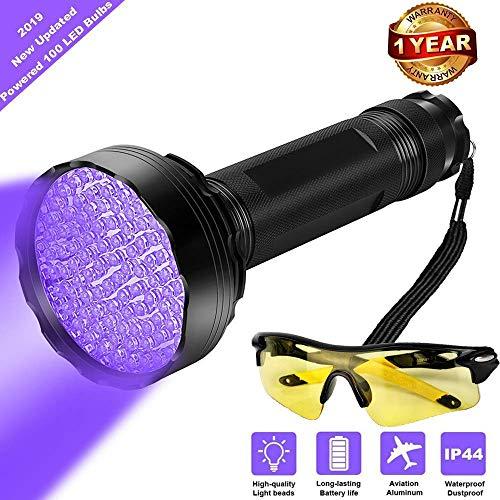 UV Black Light Flashlight, Super Bright 100 LED Best Pet Dog Cat Urine Detector light Flashlight for...