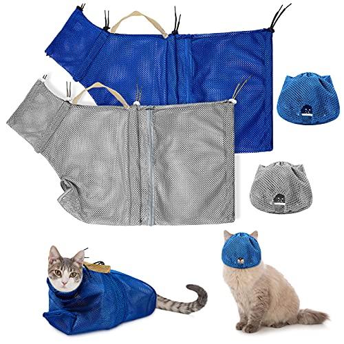 4 Stücke Katze Pflegetasche und Schnauze Set Enthalten 2 Stücke Atmungsaktiv Katze Mesh Maulkorb 2 Stücke Verstellbar Katze Dusche Netz Katze Kratzfest Zurückhaltung Fest Tasche