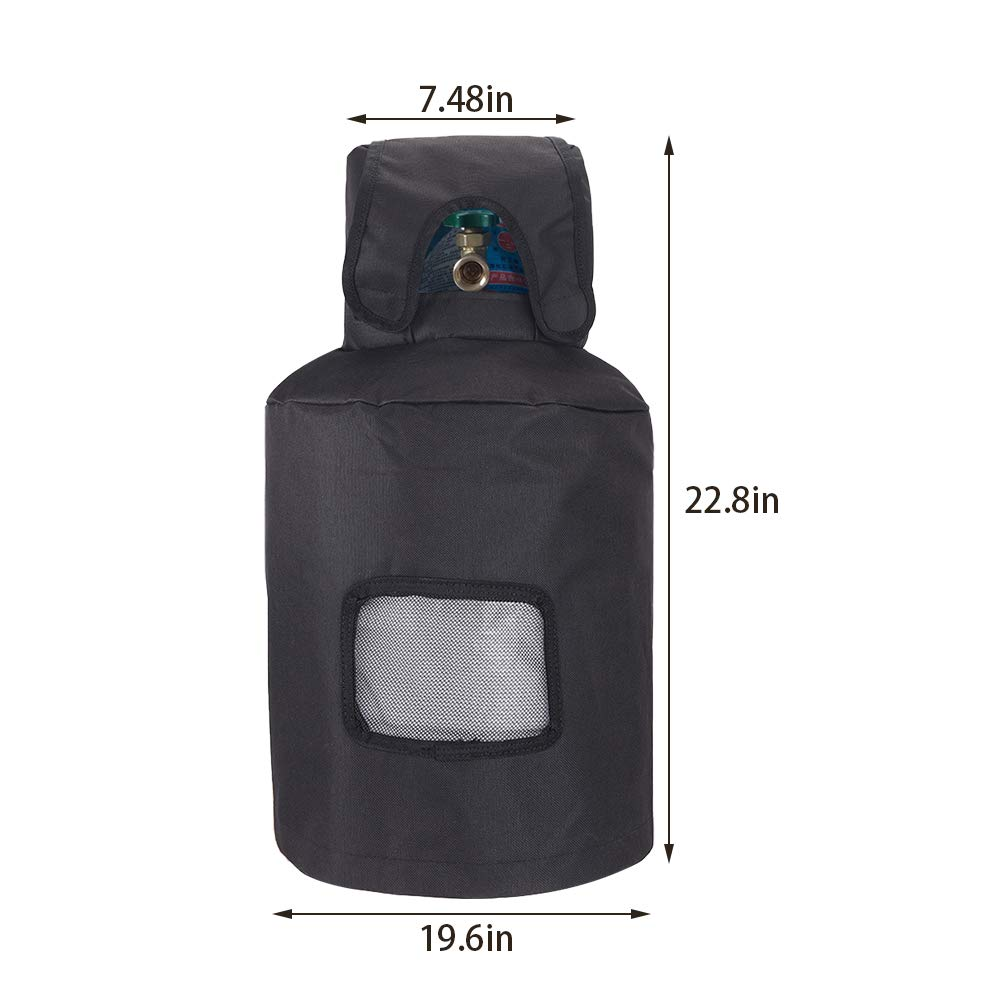 Heavy Duty Oxford Cloth MQGZ01 Gas Cylinder Cover Fits 30-Pound Steel Propane Cylinder QEES 30lb Ventilated Propane Tank Cover Waterproof Gas Grill Tank Protector