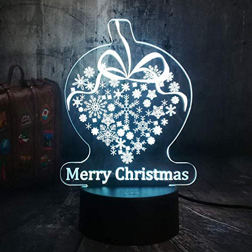 WEHOLY Night Light Home Study Merry Snowflake, 3D LED Night Lights, USB Desk Lamp, Home Decor, Send to Friends Birthday Present, Novelty Kid Toy Touch One 7 Color