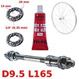 cyclingcolors Set Solid Silver Rear AXLE 9.5 x 165 MM + Ball Bearing 1/4' + Grease Bike HUB Bike Wheel Vintage Universal Cycle Retro Classic L'EROICA Spindle Steel MTB Moutain Track SINGLESPEED