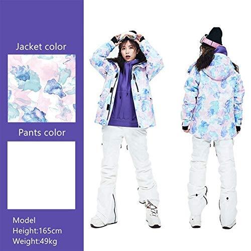 MiMioore skipak voor dames, dik, voor de winter, warm, voor skiën, sneeuw, winter, waterdicht, winddicht, voor skiën en snowboards