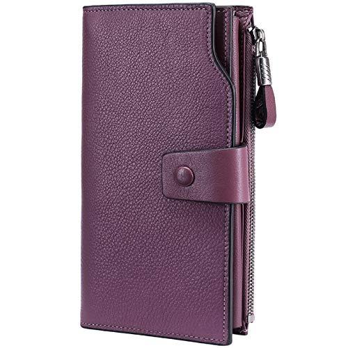 Itslife Women's RFID Blocking Large Capacity Luxury Wax Genuine Leather Cluth Wallet Card Holder Ladies Purse (Natural Purple(Lavender) RFID BLOCKING)