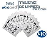 PACK 10 TARJETAS DE LIMPIEZA CR80- limpiador de lector/impresoras de tarjetas de doble cara - Compatible para impresoras de tarjetas zebra, magicard, evolis