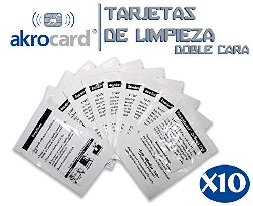 PACK 10 TARJETAS DE LIMPIEZA CR80- limpiador de lector/impre