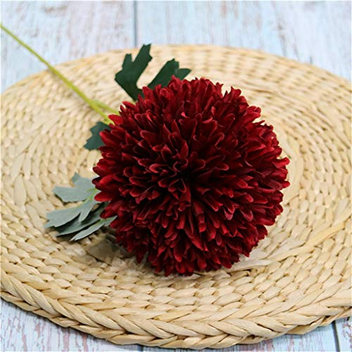 Artificial Fake Flowers Romantic Floral Wedding Bouquet Hydrangea for Home Garden Party Wedding Party Floral Decoration (Multicolor) (Wine Red)
