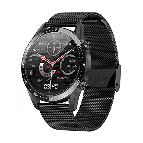 ZRSJ 2021 New Smart Watch Bluetooth Call Tracker Heart Rate Monitor Sports Smart Watch para Android iOS SmartWatch(Black Leather)