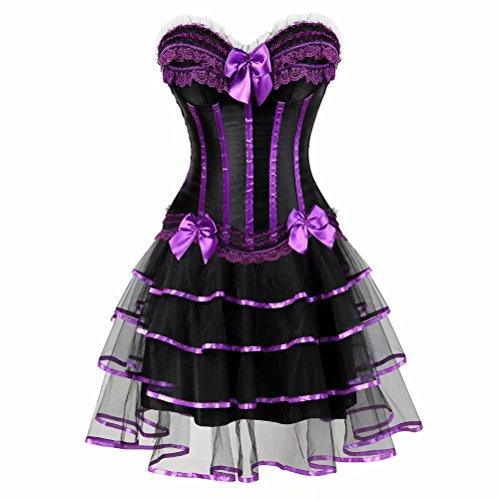 Corsagenkleid Vollbrust Corsage Bustier Streifen Spitze Kleider Korsett sexy Rock Damen Gothic Burlesque Lila M