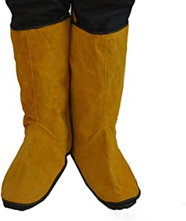 Cowhide Leather Welding Spats Welding Protective Shoes Feet Cover for Welder, Flame Resistant Foot Safety Protection (Yellow 2#)