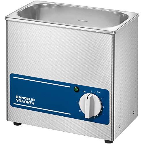 Sonorex Super RK 100 (3 Liter), Ultraschallreinigungsgerät mit 35 kHz Frequenz, Ultraschallbad aus SUS304, Ultraschall Reinigungsbad mit 80 Watt Ultraschall-Leistung, Ultraschallreiniger Ohne Heizung