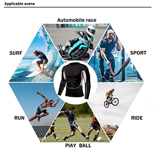 iCKER Base Layer Top Men's & Boy's Wicking Quick Dry Lightweight Sport Compression Tee Thermal Long Sleeve Shirt for Cycling Skiing Running Hiking, XL, Blue-black