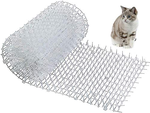 Kohree Upgraded Cat Scat Mat with Spikes, 2.5m x0.3m Anti-Cat Mat Dog Animal Spikes Repellent Deterrent Mat, Digging Stopper Deterrent Mat for Garden and Fence, White