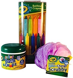 Crayola Bathtub Crayons, Color Drops and Color Changing Scrubby (Bundle of 3 Items)