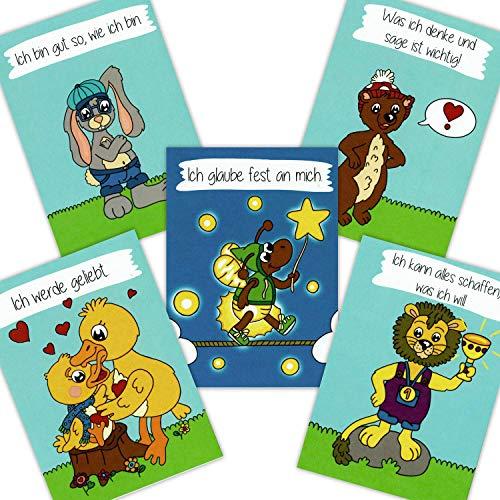 Affirmationskarten für Kinder DIN A6 - Starkes Selbstbewusstsein - Mentaltraining, Kinder stärken, positives Denken, Affirmationen Karten für Schule und Unterricht