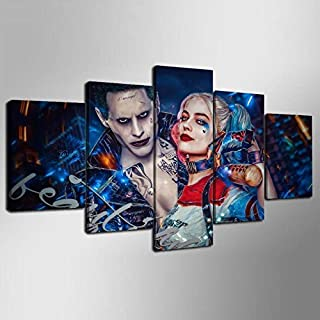 Artwu Joker Harley Quinn Suicide Squad 5PCS Wall Art Home Wall Decorations for Bedroom Living Room Oil Paintings Canvas Prints-915