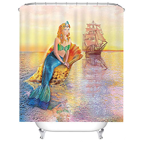 LHDECORATION Mermaid Shower Curtain, Greek Mythology Siren Woman Shell Sailboat Fairy Tale Art Painting, Waterproof Polyester Bathroom Decor Set with Hooks, 72x72 Inches Long, Gold Yellow Orange Blue