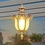 Al aire libre Luz pendiente Montaje de techo impermeable IP54 Pérgola Jardín Lámpara colgante de cristal linterna Pergola Porche iluminación de la lámpara E27 (Color : Gold)