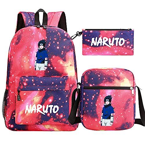 JPTYJ White English Characters Naruto Hatake Kakashi/Itachi Mochila de Dibujos Animados de Anime para Mujer Bolsos de Viaje Informales para niños Mochilas Escolares Red-E
