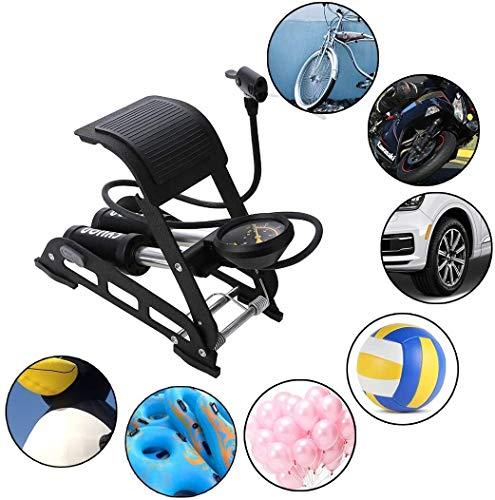 EGCLJ Zylinder Fuß Luftpumpe, Doppelzylinder Fußluftpumpe Mit Gas-Druckmessgerät Und Intelligente Ventile, for Ball, Fahrrad, Roller, Motorrad