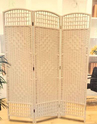 Paravent aus Korbgeflecht - 5 Farben wählbar - Spanische Wand Raumteiler (weiß)