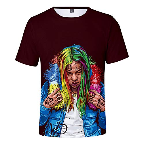 EnjoyYourLife 6ix9ine Camiseta Unisex KPOP 6ix9ine Estampada Unisex T-Shirt Fans Cool Hip Pop Top