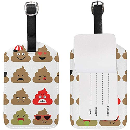 Funny Poop Emoji Luggage Tag Travel ID Label Leather for Baggage Suitcase 2 Piece