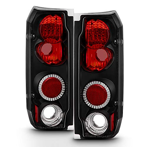 ACANII - For 1987-1996 Ford F150 F250 F350 Bronco Black Rear Tail Lights Brake Lamps Pair Driver & Passenger Side