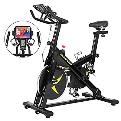 ER KANG Exercise Bike, Indoor Cycling Bike, Stationary Bike with Digital LCD Monitor, Cycling Bottle Holder, Heavy Flywheel & Comfortable Seat Cushion for Home Cardio Workout, Bike Training