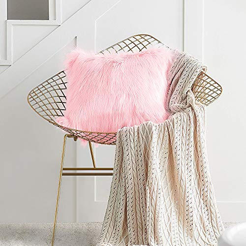 Yolife Shaggy Cushion Covers, Ins Style Faux Fur Fluffy Square Pillow Case Super Soft Decorative Pillow Covers for Living room Sofa Bedroom Car 40 x 40cm (Pink)
