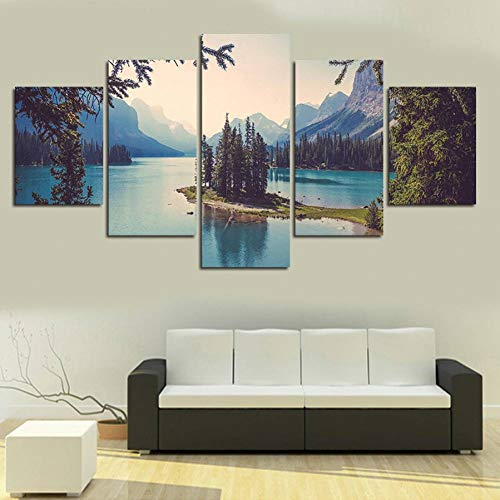 MONDFH 5 cuadros consecutivos decorativos de 5 paneles de lona, pintura de pared, cuadros decorativos para sala de estar, paisaje, recámara, sala de estar
