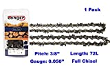 20 Inch Chainsaw 3/8' Pitch 0.050'' Gauge Full Chisel Sawchain 72 Drive Links