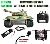 MODELTRONIC Tanque Radio Control German Panther Escala 1/16 Heng Long versión V6.0, Transmisiones de Acero, con batería Litio, emisora 2.4G V6.0, con Sonido, Airsoft, Humo 3819-1