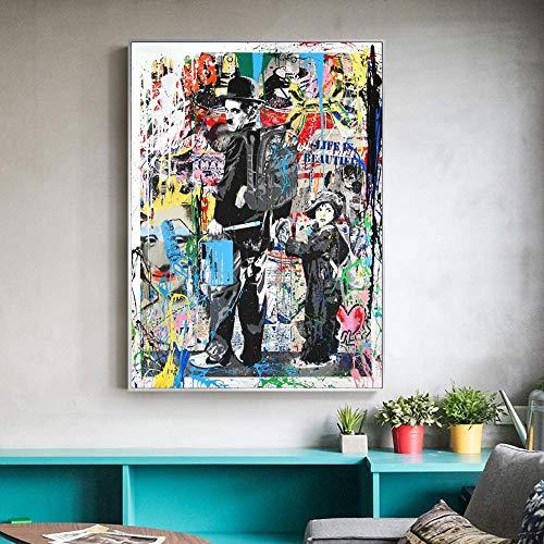 Straße Wandkunst Banksy Graffiti Leinwand Gemälde Abstrakte Einstein Pop Art Leinwand Für Kinderzimmer Cuadros Dekoration 50X70 Cm Kein Rahmen