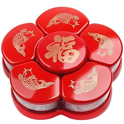 HUANGDAN Boîte de Rangement pour collations Plat à Bonbons tournant avec 6 Compartiments Assiette Fruits secs Plateau pour collations avec Couvercle pour la fête de Noël du Nouvel an Chinois