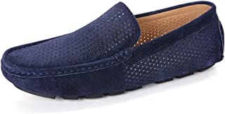 HongJie Hou Driving Loafer for Men Boat Moccasins Slip On Style Suede Leather Hollow Simple Pure Colors Low Top Round Toe (Color : Blue, Size : 6.5 UK)