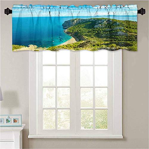YUAZHOQI Cenefas de ventana Best Coll Baix Mallorca Island Tropical Beach Pano Alcudia 1 panel de 106,7 x 45,7 cm con aislamiento térmico para baño