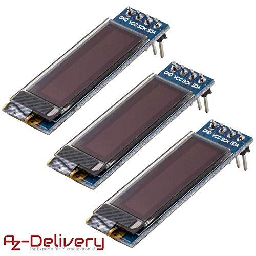 AZDelivery 3 x 128 x 32 Pixel 0,91 Zoll OLED I2C Display für Arduino und Raspberry Pi mit gratis eBook!