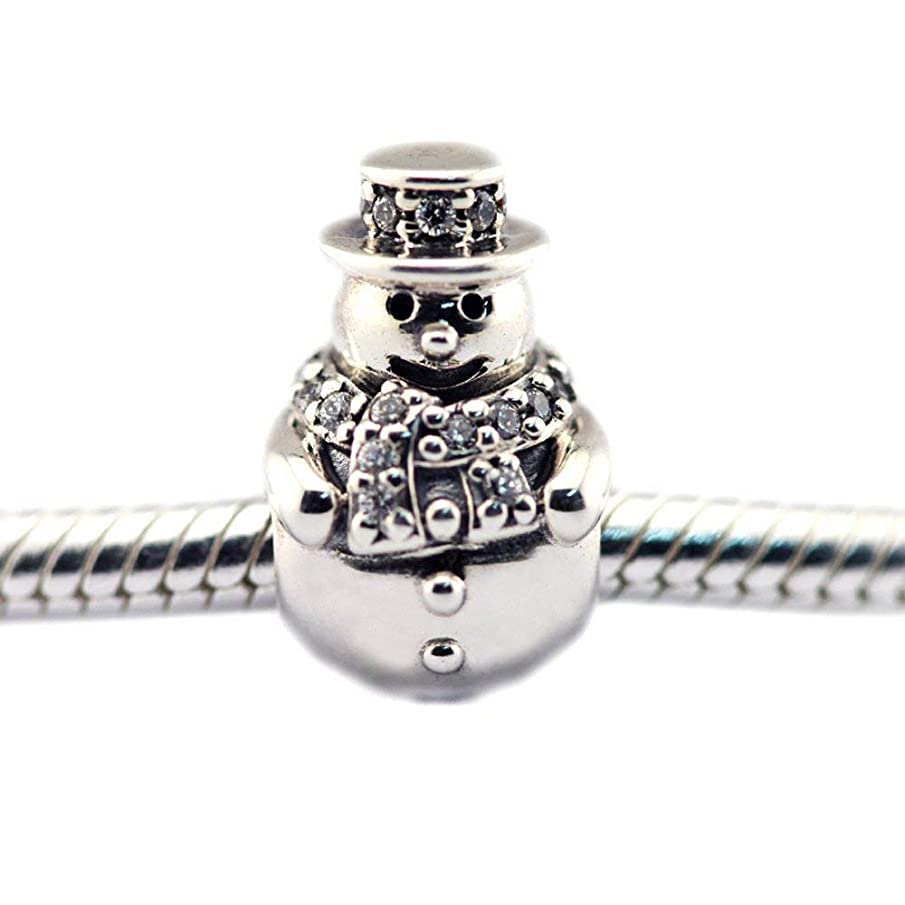 FASHICON European Christmas Gift Snowman Clear CZ Charm Beads 925 Sterling Silver DIY Fits Original Bracelets Jewelry Making