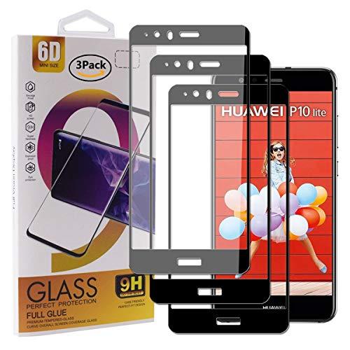 Guran [3 Pezzi Pellicola Vetro Temperato per Huawei P10 Lite Smartphone Copertura Completa 9H Durezza Anti-Impronte HD Pellicola Protettiva - Nero